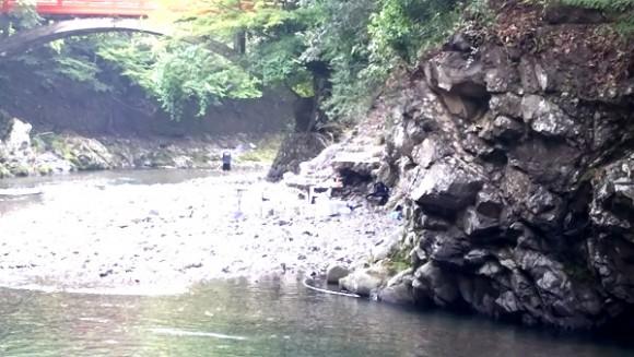 清滝川でバーベキュー